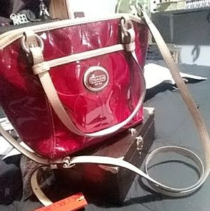 Shiny Red Coach Crossbody